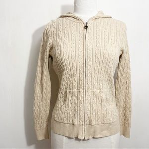 STYLE & CO front zip cable knit hooded sweater M